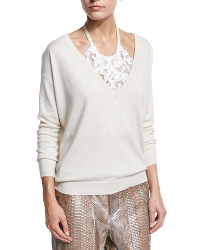 2-Ply Cashmere Sweater w/Lace Halter, Beige