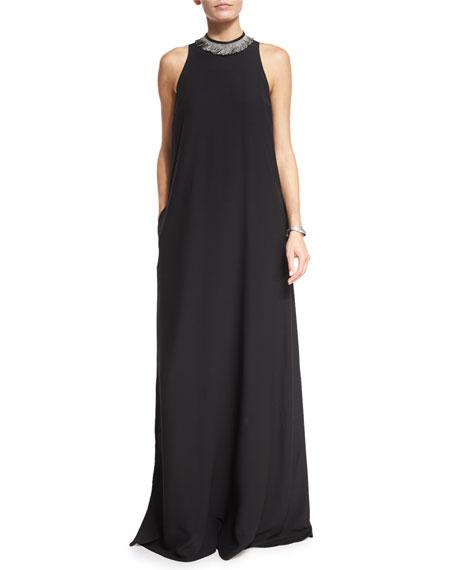 Brunello Cucinelli Monili & Leather-Trim Maxi Gown, Black