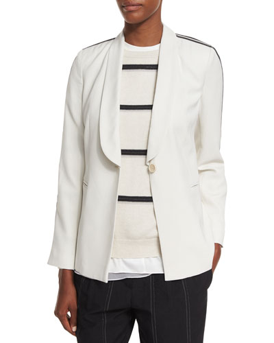 Crepe Shawl-Collar Blazer w/Monili Track Stripes