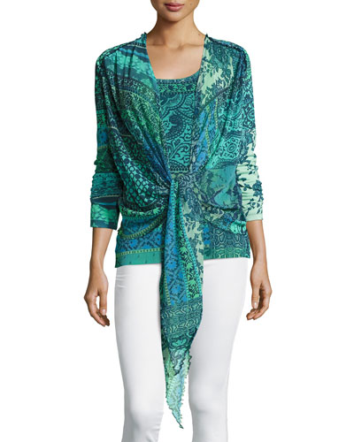 3/4-Sleeve Mosaic-Print Tie-Front Cardigan, Turquoise