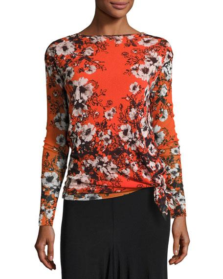 Fuzzi Long-Sleeve Floral-Print Tie-Hem Top, Fiamma Multi