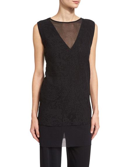 Sleeveless Layered Lace Tunic, Black