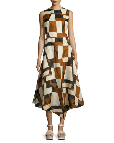 Geometric-Print Sleeveless Gown, Brown/Multi