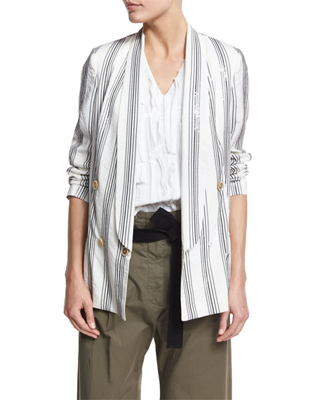 Micro Paillette Striped Blazer, White