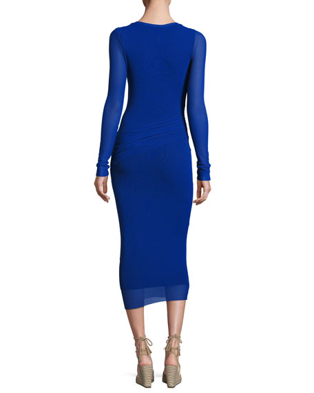 Long-Sleeve Ruched Tulle Midi Dress, Blue