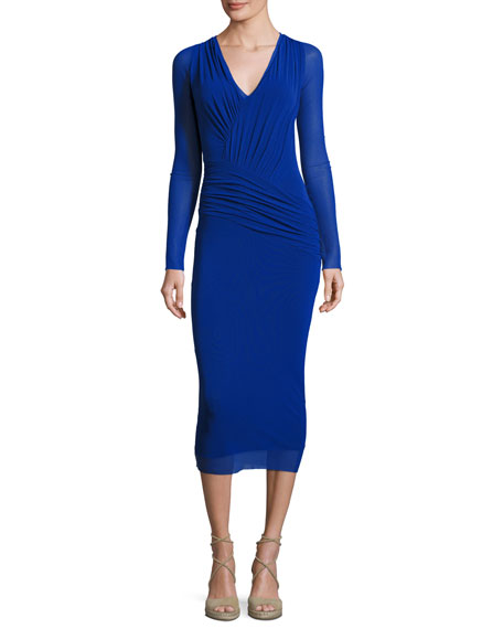 Fuzzi Long-Sleeve Ruched Tulle Midi Dress, Blue