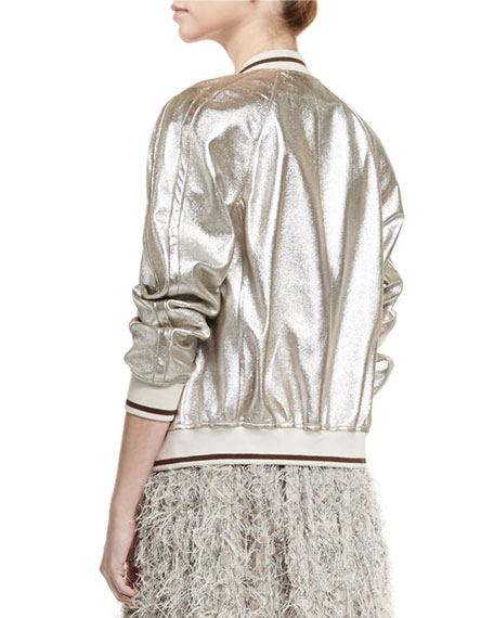 Striped-Trim Leather Bomber Jacket, Silver