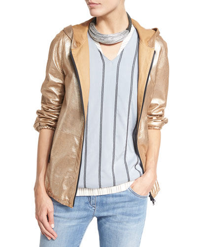 Hooded Metallic Leather Jacket, Gold