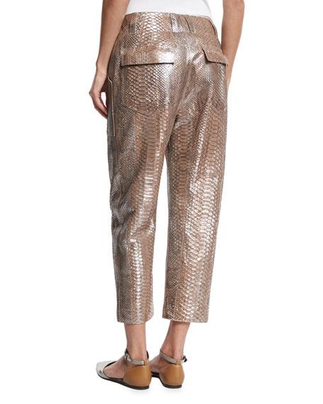 Metallic Python Cropped Pants, Gray