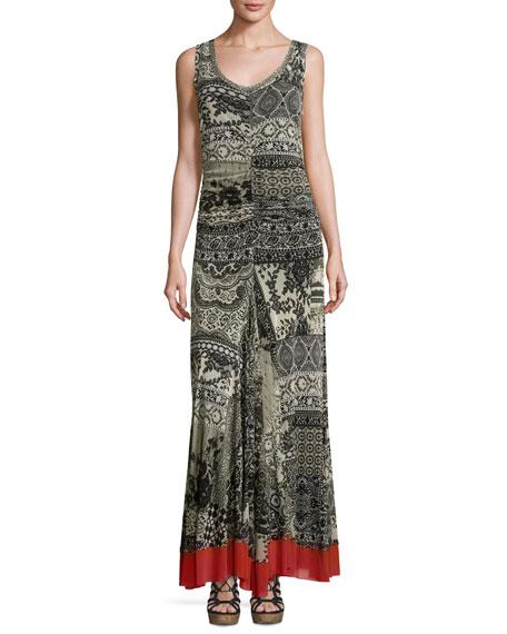 Fuzzi Sleeveless Lace-Print Maxi Dress, Black Pattern