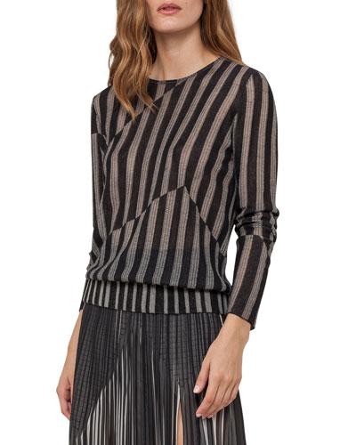 Striped Jacquard Pullover Sweater, Black/Marfil