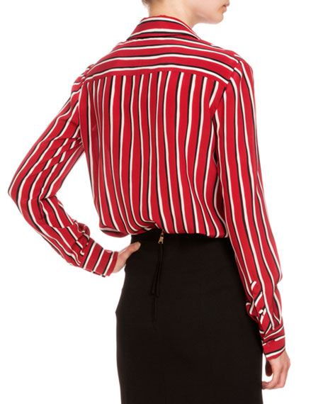 50d2adf150dd2 Altuzarra long sleeve striped silk blouse black red white jpg 456x570 Black  and white striped silk