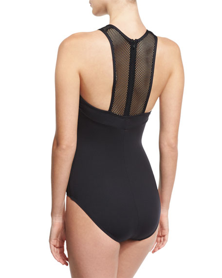 Sporty Soul Mesh High-Neck One-Piece Swimsuit