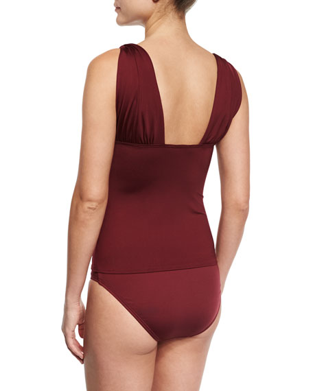 Classic Weave Draped Tankini Swim Top, Purple