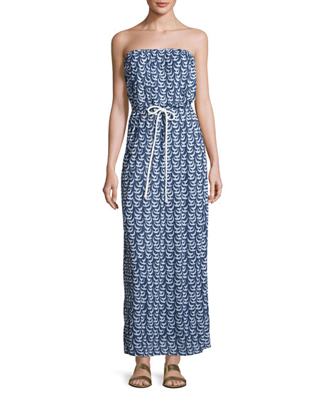 Milly Pahala Sailboat-Print Strapless Maxi Coverup Dress