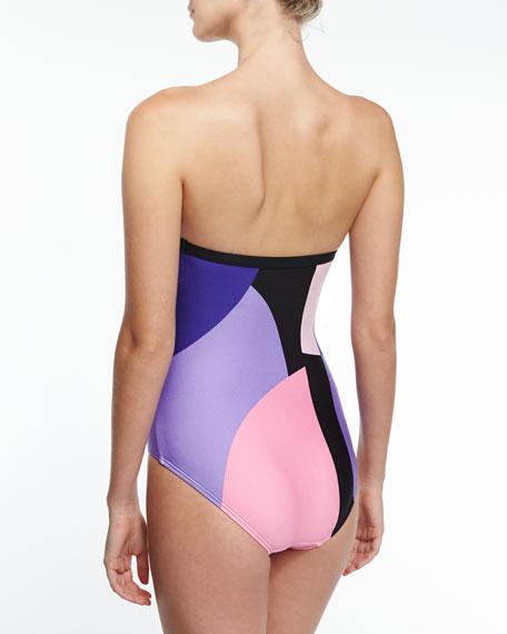 limelight bandeau one-piece swimsuit, multicolor