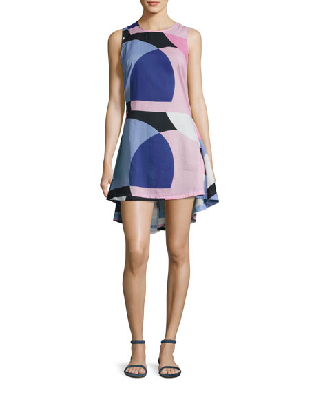 kate spade new york limelight mod-print high-low dress,