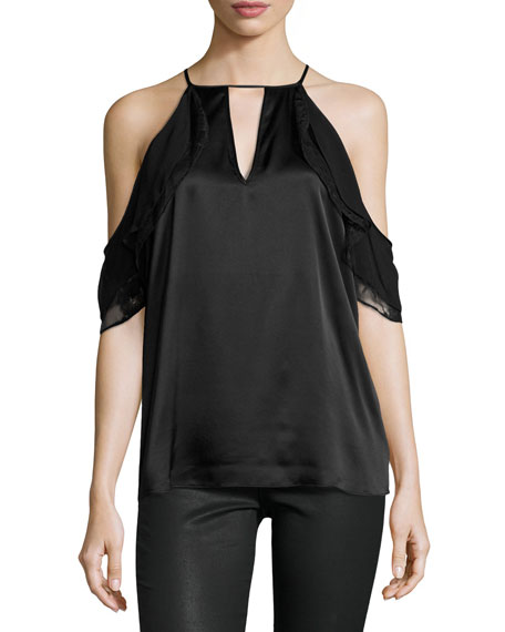 Parker Chelo Cold-Shoulder Silk Combo Top