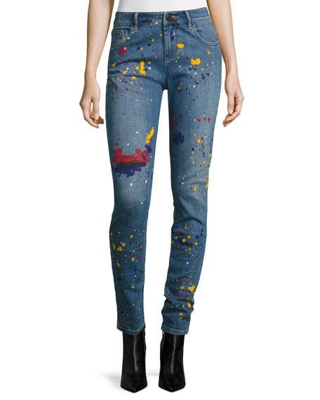 Joana Paint-Splatter Skinny Jeans, Multi
