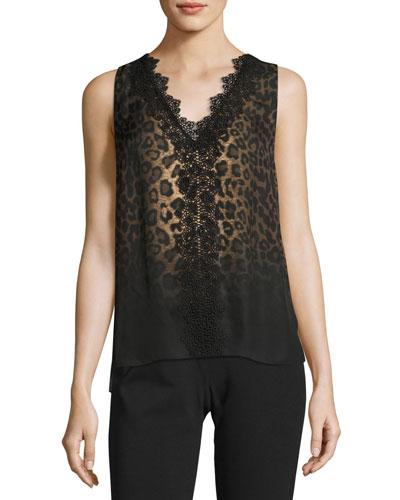 Silvie Sleeveless Lace-Trimmed Leopard-Print Silk Blouse, Multi