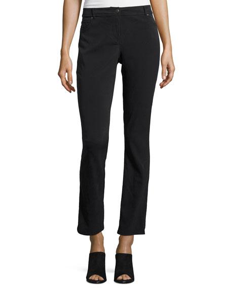 Silk Twill Straight-Leg Jeans