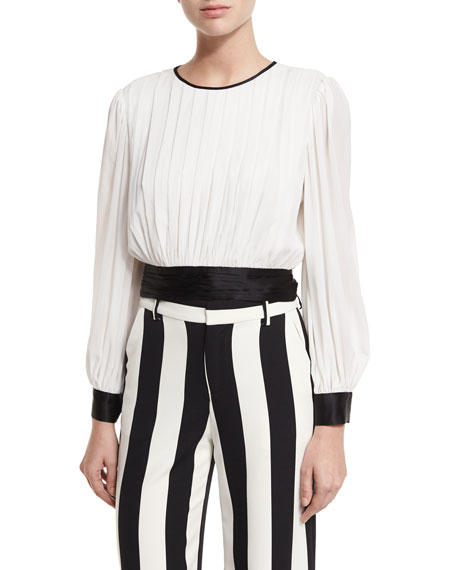 Alice + Olivia Dakota Pleated Tie-Waist Blouson Top