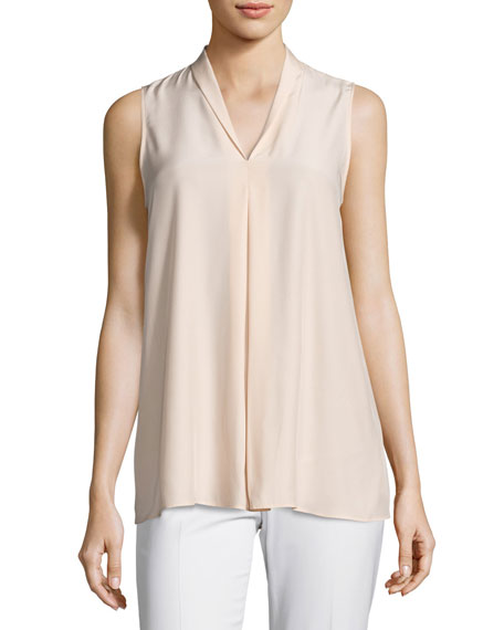 Lafayette 148 New York Nora Sleeveless Pleated Matte-Silk