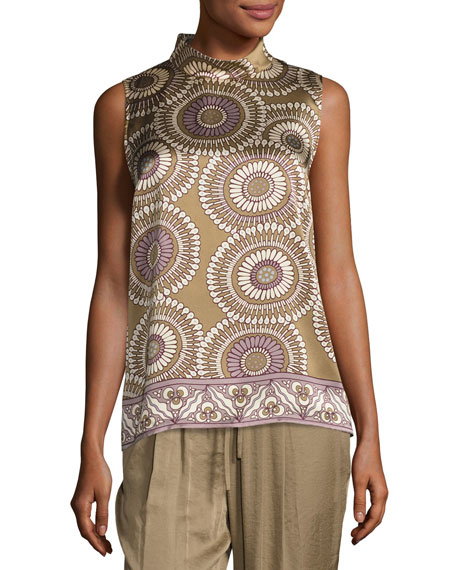 Fernanda Sleeveless Medallion-Print Silk Blouse, Multi