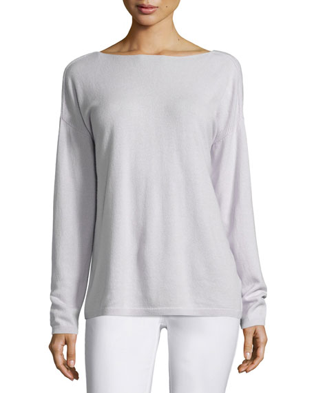 V-Back Cashmere Sweater, Light Purple
