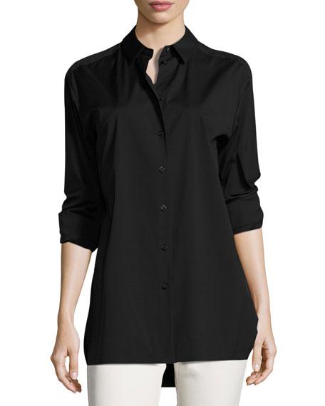 Dannell Button-Front Stretch-Cotton Blouse