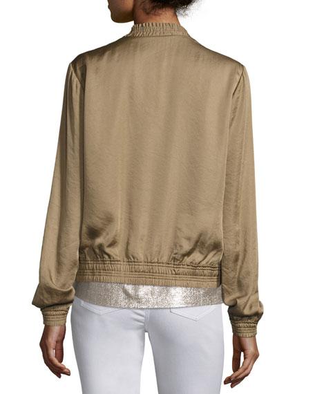Bryant Satin Bomber Jacket, Bronze