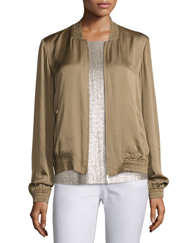 Bryant Satin Bomber Jacket, Bronze