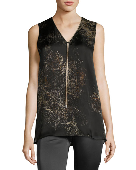Julieta Sleeveless Paisley-Print Chain-Trimmed Silk Blouse, Multi