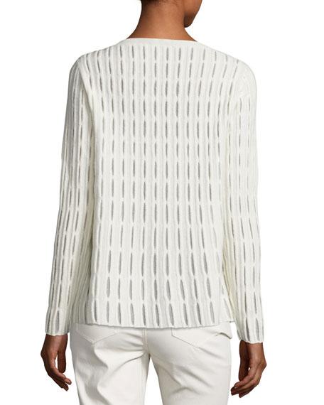 Cloud Open-Stitch Wool-Blend Sweater, Ivory