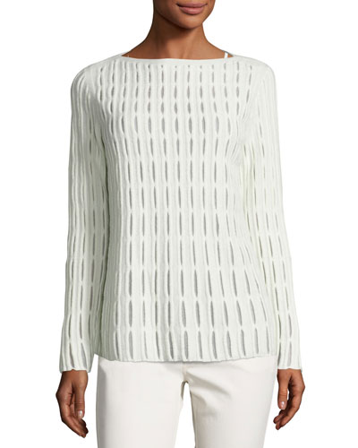 Cloud Open-Stitch Wool-Blend Sweater, Ivory
