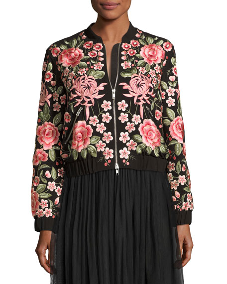 Rose Embroidered Bomber Jacket, Black