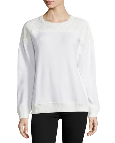Long-Sleeve Lace-Inset Sweatshirt, Chalk Palm Print