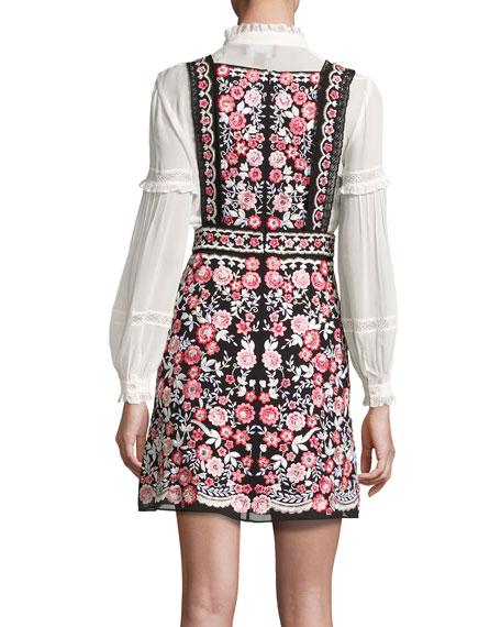 Prairie Floral Embroidered Bib Dress, Black