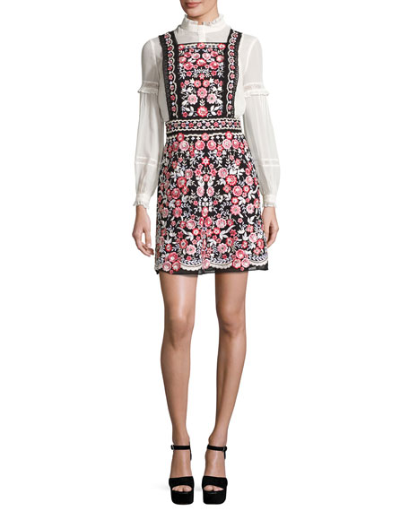 Needle & Thread Prairie Floral Embroidered Bib Dress,