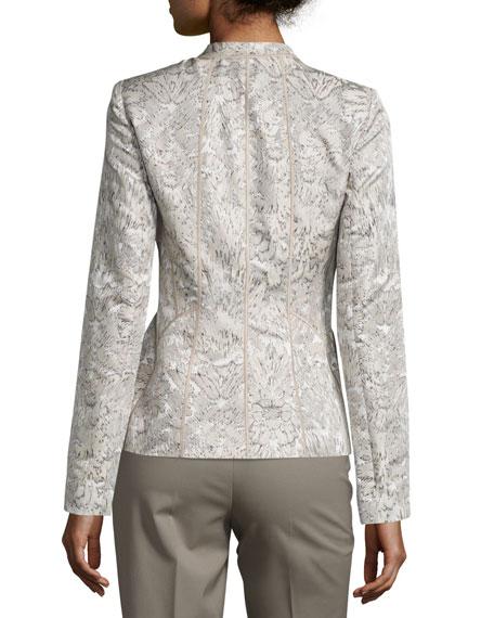 Floral-Print Paneled Jacquard Jacket, Multi