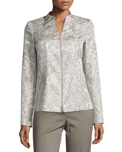 Floral-Print Paneled Jacquard Jacket, Multi Compare Price