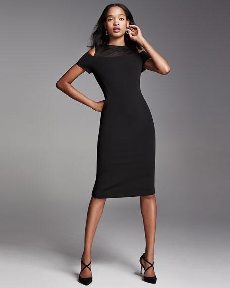 Cold-Shoulder Mesh-Yoke Sheath Dress, Black