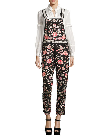 Cherry Blossom Embroidered Dungarees, Black