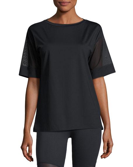 Varley Rutline Mesh-Sleeve Performance Tee, Black