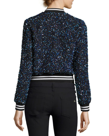 Lonnie Embellished Bomber Jacket, Blue