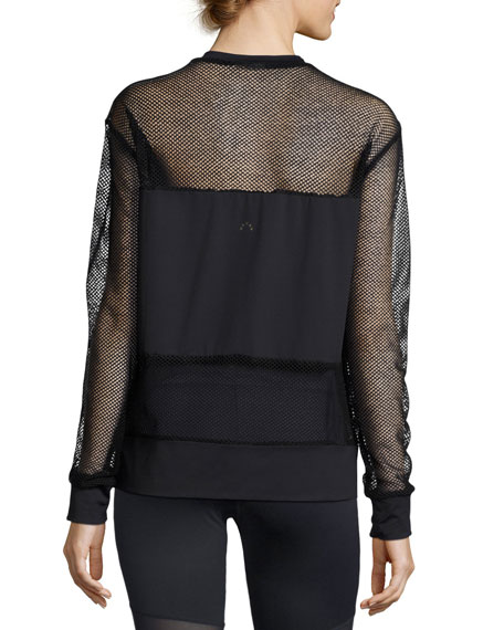 Carlton Mesh Sweatshirt, Black