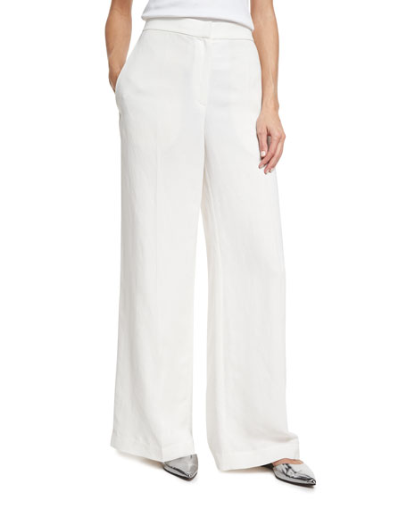Brunello Cucinelli High-Waist Full Wide-Leg Pants, White