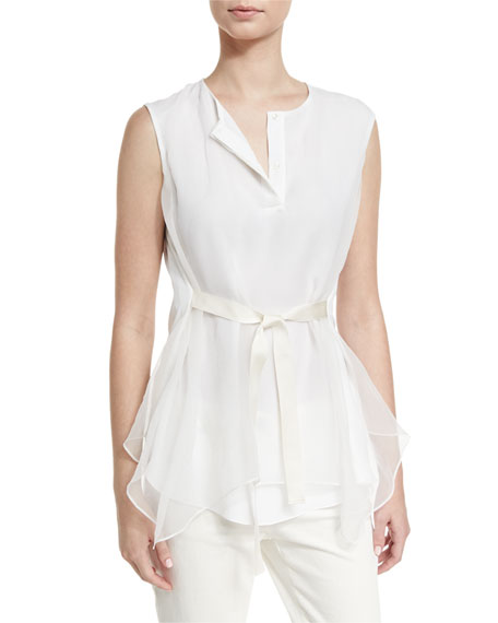 Brunello Cucinelli Tie-Waist Sleeveless Blouse, White