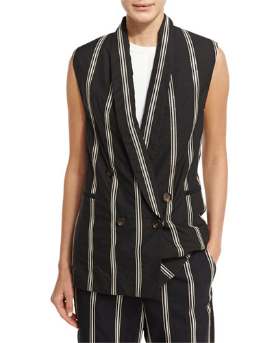 Paillette-Stripe Double-Breasted Vest, Black