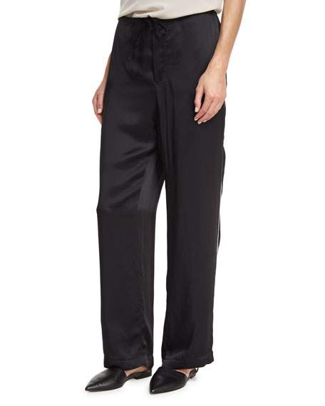 Brunello Cucinelli Satin Track-Stripe Wide-Leg Pants, Black